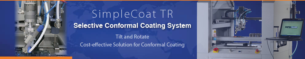 Conformal coating systems with tilt and rotate spray valve
